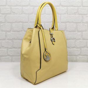 Дамска чанта Мария С жълта от Италия - EvrikaShop