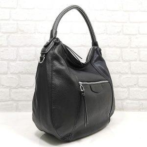 Спортно-елегантна чанта Мария С черна от Италия - EvrikaShop