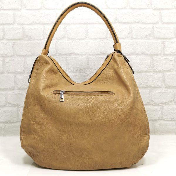 Дамска чанта Мария С бежова тип торба - EvrikaShop