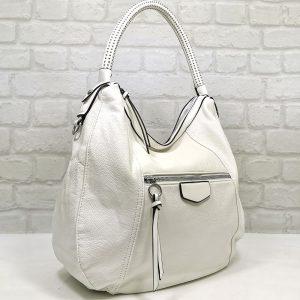 Спортно-елегантна чанта Мария С бяла от Италия - EvrikaShop