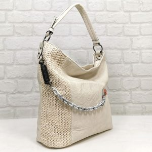 Спортно-елегантна чанта Мария С екрю тип торба - EvrikaShop