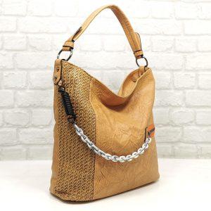 Чанта Мария С бежова тип торба от Италия - EvrikaShop
