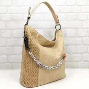 Чанта Мария С светло бежова тип торба - EvrikaShop