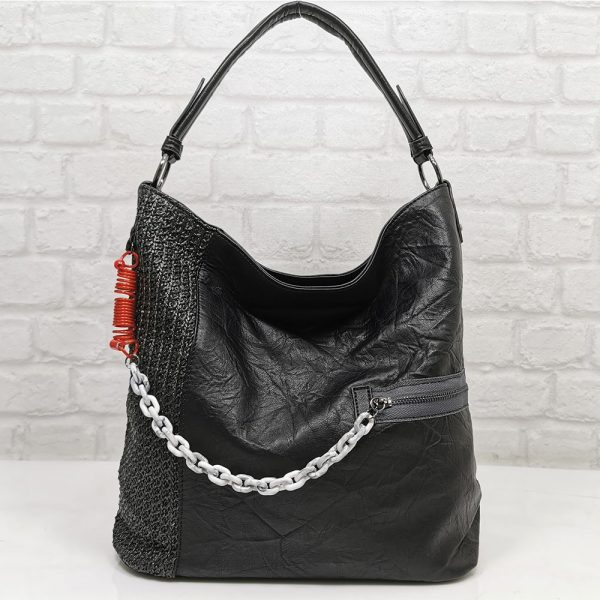 Чанта Мария С черна тип торба от Италия - EvrikaShop