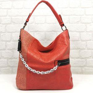Дамска чанта Мария С червена тип торба - EvrikaShop