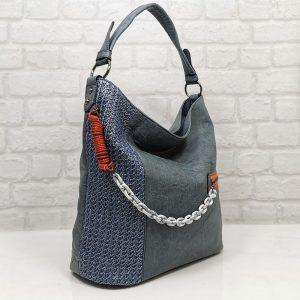 Чанта Мария С синя тип торба от Италия - EvrikaShop