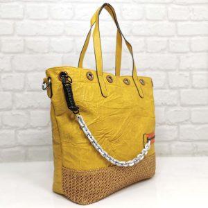 Чанта Мария С жълта, голяма от Италия - EvrikaShop