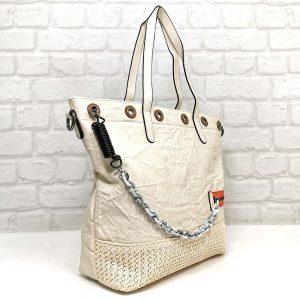 Чанта Мария С екрю голяма от Италия - EvrikaShop