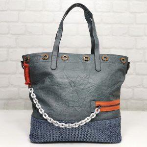 Чанта Мария С синя голяма от Италия - EvrikaShop