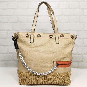 Чанта Мария С светло бежова, голяма от Италия - EvrikaShop