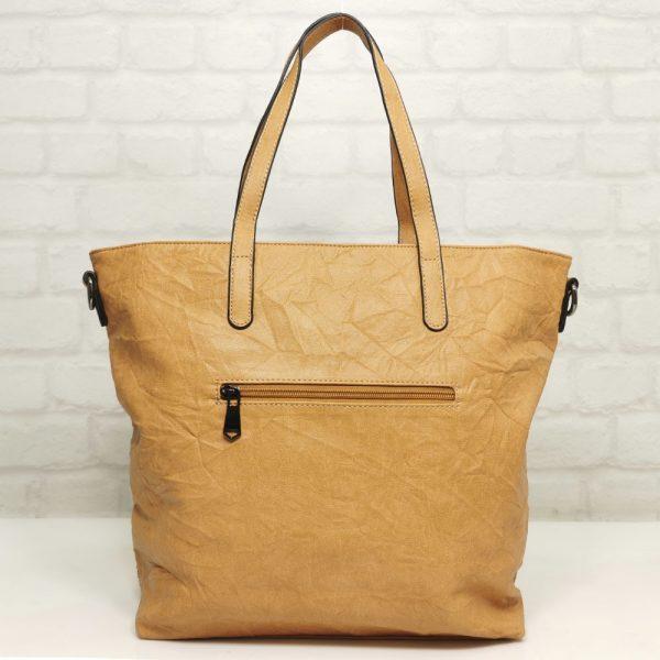 Чанта Мария С бежова голяма от Италия - EvrikaShop