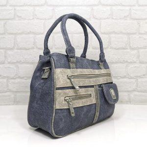 Дамска чанта Еврика синя еко кожа имитация на дънков плат