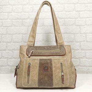 Дамска чанта Еврика бежова гама от еко кожа - EvrikaShop