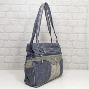 Чанта Еврика синя еко кожа, имитация на дънков плат - EvrikaShop