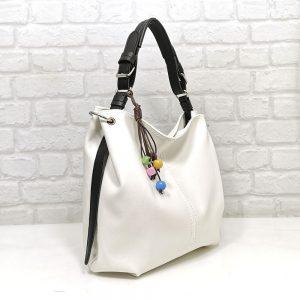 Дамска чанта Ади бяла с черна дръжка - EvrikaShop