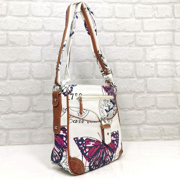 Дамска чанта Еврика бяла с цикламено - EvrikaShop