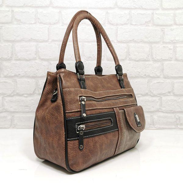 Дамска чанта Еврика кафява с бежово - EvrikaShop