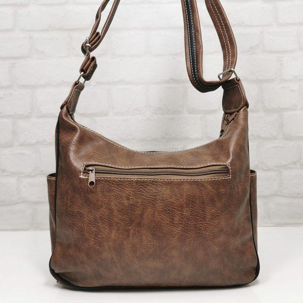 Дамска чанта Еврика кафява с бежово и черно - EvrikaShop