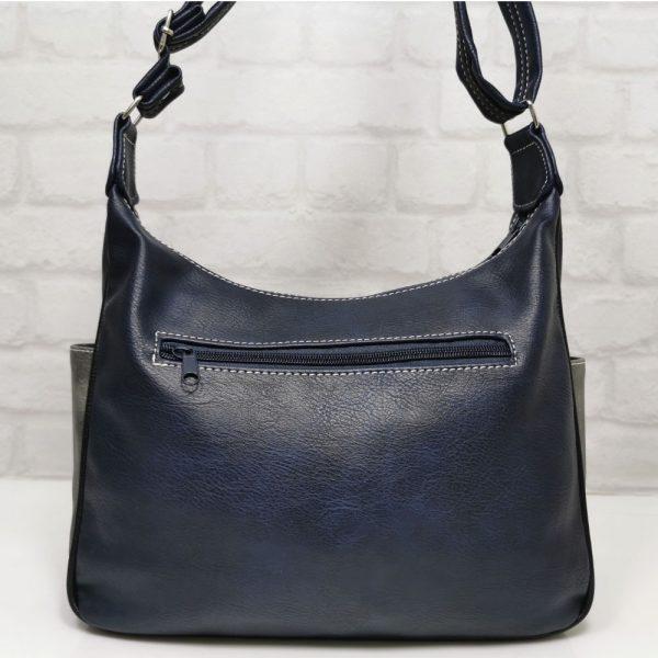 Дамска чанта Еврика тъмно синя със сиво - EvrikaShop