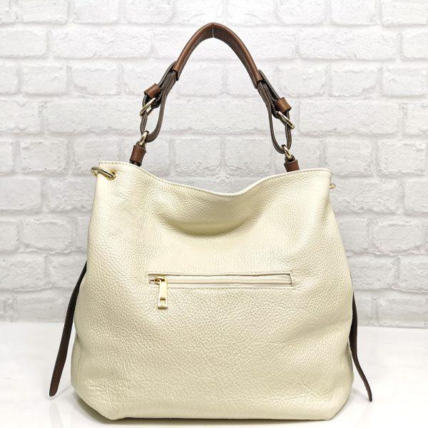 Българска чанта Еврика естествена кожа екрю с кафяво от естествени материали, подходяща за всеки ден - удобна, лека, мека и с прегради.