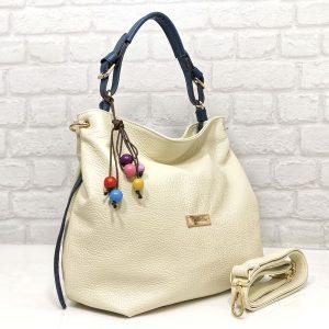 Чанта Еврика естествена кожа екрю със синьо - EvrikaShop