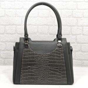 Чанта Еврика 505СВ сива, с лъскава гарнитура Дамски чанти