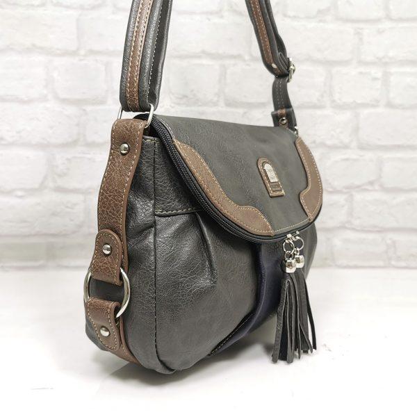 Дамска чанта Еврика сива от еко кожа - EvrikaShop