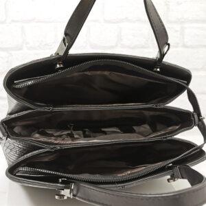 Чанта Еврика 760Н черна, принт кроко Дамски чанти